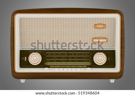vintage radio isolated on gray background. 3d illustration