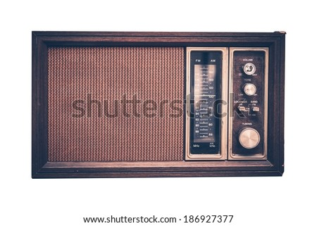 Vintage Radio Isolated on Solid White Background. Front View. 80s Design.