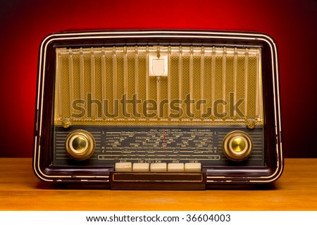 vintage radio isolated on the white background - stock photo