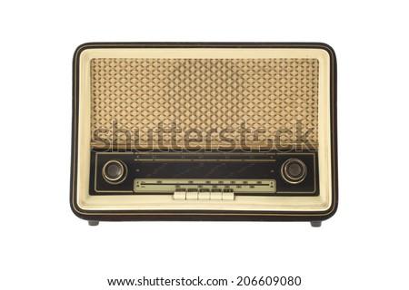 Vintage Radio isolated on white - stock photo