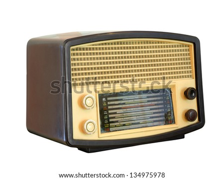 Vintage radio isolated over white background, clipping path - stock photo