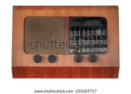 Vintage radio table top set pre world war II style isolated on white with working path