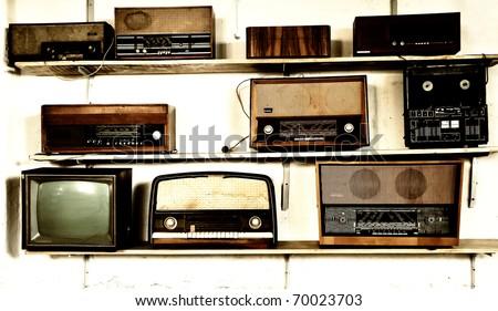 Vintage radios - stock photo