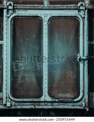 Vintage railroad container doors with rusty  - stock photo