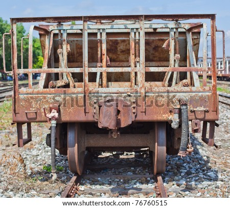 vintage railroad which ruin and rusty at station
