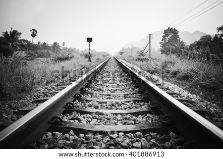 vintage railroad with black and white effect