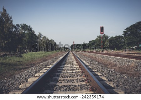 Vintage railway in the countryside in Thailand - stock photo