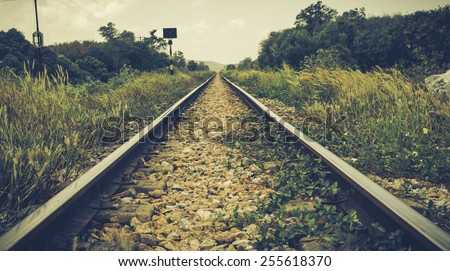 Vintage railway track - stock photo