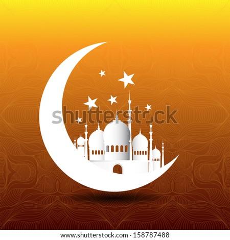 Vintage Ramadan Kareem background with 3d paper - stock photo