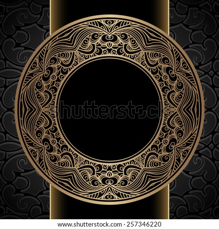Vintage raster background, gold ornamental label, round frame template - stock photo