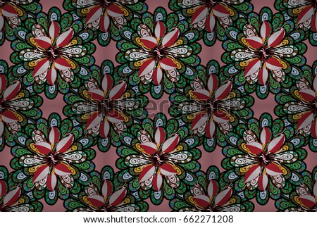 Vintage raster floral seamless pattern in blue and pink colors.
