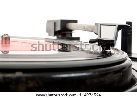 Vintage record player - stock photo