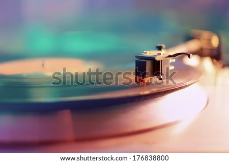 Vintage record player - stock photo