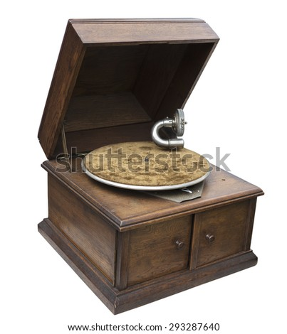 vintage record player isolated on white background - stock photo