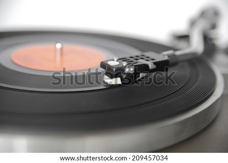 Vintage record player shot with wide aperture for abstract perception  - stock photo