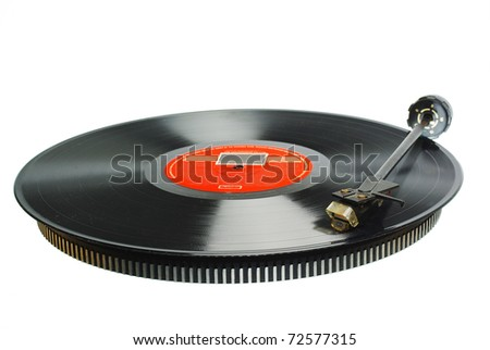 Vintage record player.White background - stock photo