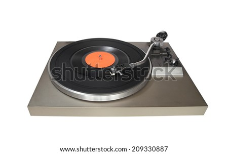 Vintage record player with vinyl record isolated on white