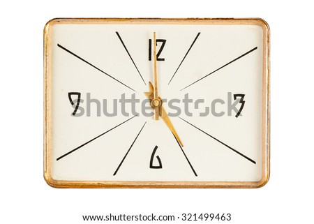 Vintage rectangle clock face in golden yellow frame showing five o'clock isolated over white background