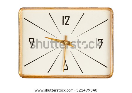 Vintage rectangle clock face in golden yellow frame showing half past nine  o'clock isolated over white background