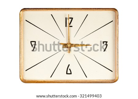 Vintage rectangle clock face in golden yellow frame showing three o'clock isolated over white background