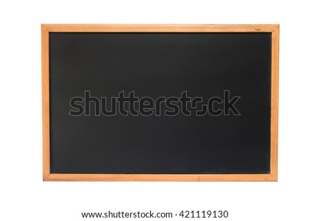 Vintage rectangular black chalkboard/blackboard/greenboard with wood frame, Advertisement chalkboard, recommend chalkboard, empty chalkboard. Isolate chalkboard. on white background - stock photo