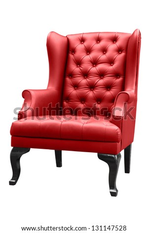 vintage red armchair isolated on white. - stock photo