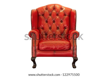 vintage red armchair on white background - stock photo