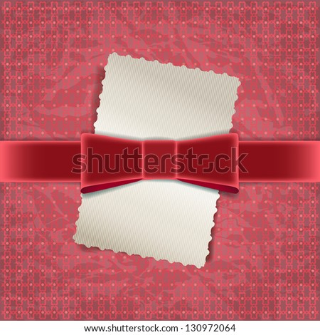 Vintage red background with  satin bow. Raster copy of vector image - stock photo