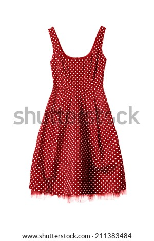 Vintage red dress isolated over white - stock photo