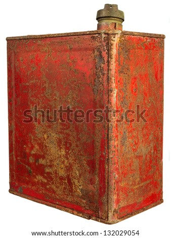Vintage red fuel can isolated on a white background - stock photo