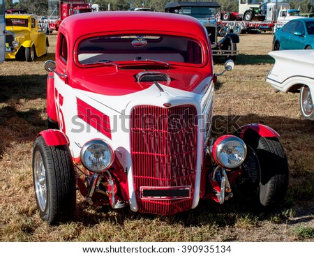 Vintage Red hot rod car Wellington New South Wales Australia March 6th 2016 Vintage Fair motorbike display at Wellington show-ground in Australia - stock photo
