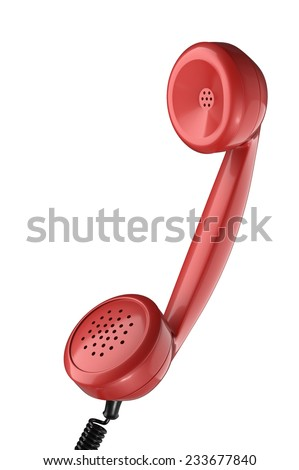 vintage red phone handset on white background - stock photo