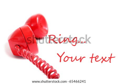 Vintage red phone isolated on a white background.old phone hand set - stock photo