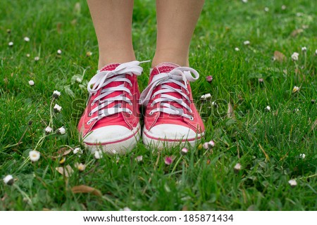 Vintage red shoes in green grass - stock photo