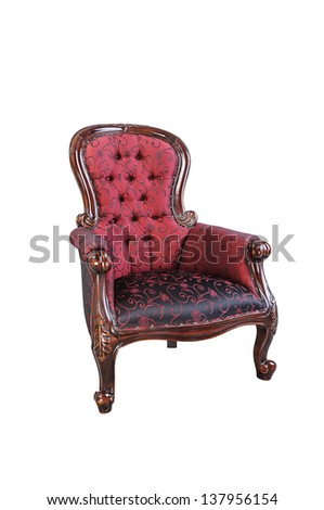 Vintage red silk cloth chair isolated on white background