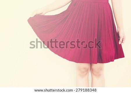 Vintage,Red skirt - stock photo