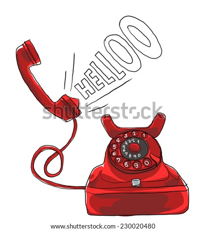 vintage red telephone art painting - stock photo