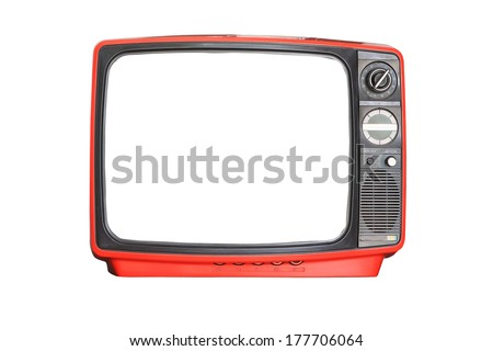 Vintage red Television set isolated on white background - stock photo