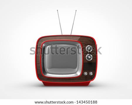 Vintage red TV in front view