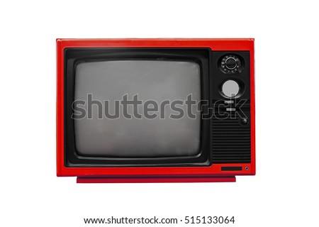 Vintage Red TV isolated on white background