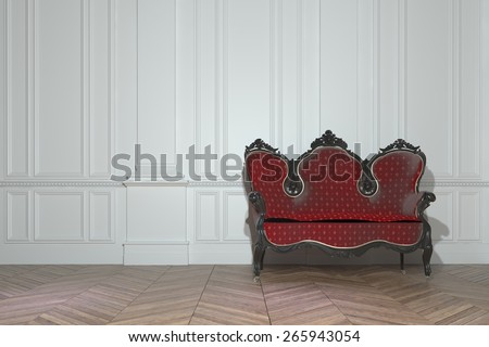 Vintage red upholstered carved wood sofa in a classic minimalist white paneled room in a luxury house interior. 3d Rendering - stock photo