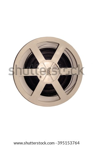 Vintage reel of film for cinema. Filmstrip top view . Sepia. Film for shooting movies. The middle of the 20th century. Isolated on white. Old motion picture film reel - stock photo