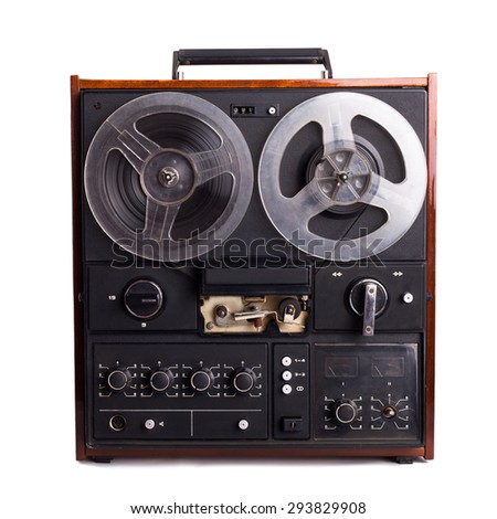 vintage reel-to-reel recorder isolated on white - stock photo