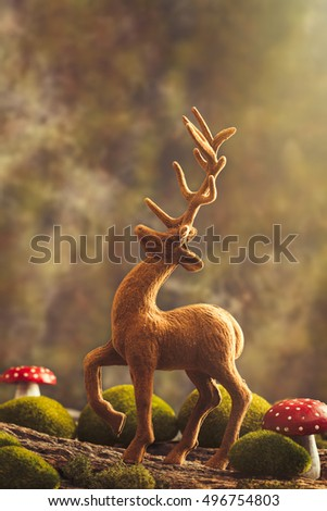 Vintage reindeer figure with toadstools in magical landscape