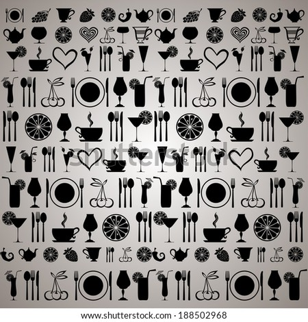Vintage restaurant menu. Food and drink seamless doodles pattern.  illustration  - stock photo