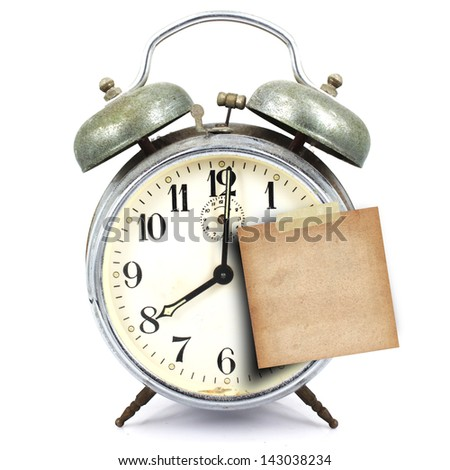 vintage retro alarm clock and short note on white background - stock photo