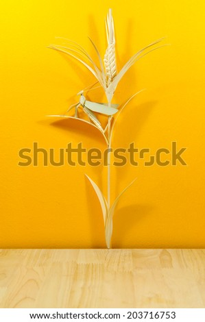 Vintage retro background with wooden table and yellow wall. Ready for product montage