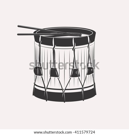 Vintage retro bass drum with drumsticks napoleon civil war victorian era isolated on white background - stock photo