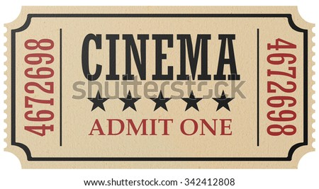 Vintage retro cinema creative concept: retro vintage cinema admit one ticket made of yellow textured paper isolated on white background, closeup view, 3d illustration - stock photo