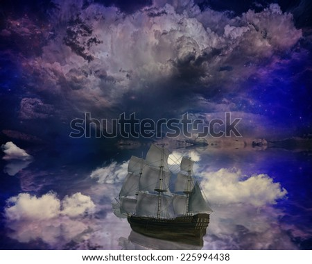 Vintage retro classic old sailboat on a dreamland surrealistic star skyline sky moon light background boat refection in water. Space travel vacation voyage paradise trip, adventure, tourism concept